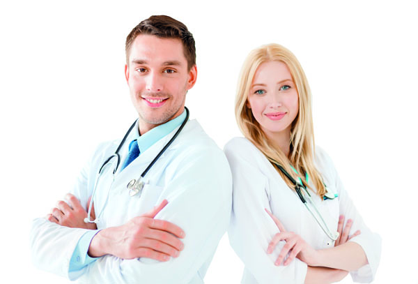 young male doctor and female nurse in hospital