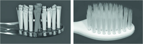 Fot. 1. Modele szczoteczek do zębów elmex® (po lewej) i meridol® (po prawej).