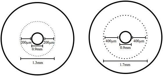 Rys.1. Schematyczne przedstawienie przekroju poprzecznego zębiny kanału korzeniowego i doboru wielkości wiertła. Poszerzacze Peeso (Mani ®, UT, Japonia) nr 4 (śr. 1,3 mm) i nr 6 (śr. 1,7 mm) pozwalają uzyskać zeskrobiny zębiny z kanału korzeniowego o średnicy 0,9 mm na głębokości odpowiednio 0,2 mm (200 μm) i 0,4 mm (400 μm).